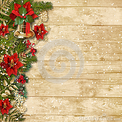Christmas wooden background with beautiful christmas garland and snow