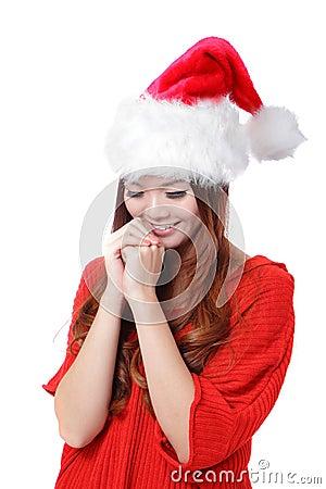 Christmas Beauty Girl make a wish