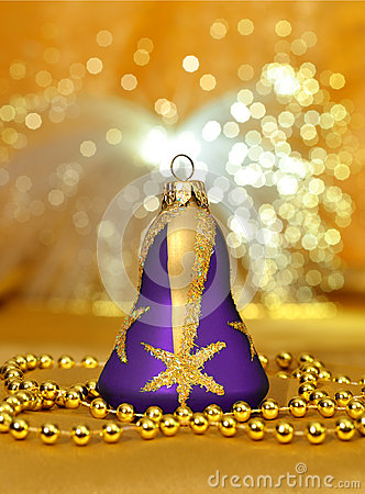 Free Christmas Bell, Beads Around On Light Background Stock Image - 27639711