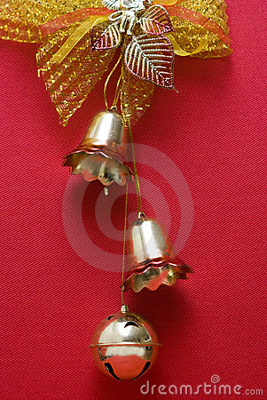Christmas bell decorations with red backgrounds