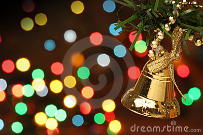 Christmas bell hanging on a branch tree