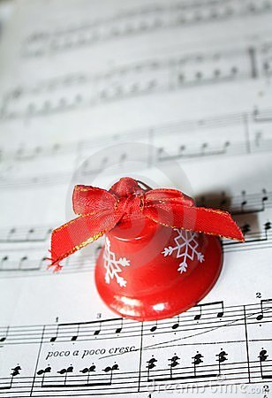 Christmas bell with sheet of note paper