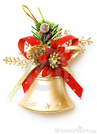 Christmas bell on white