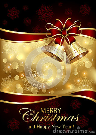 Free Christmas Bells And Red Bow On Golden Background Royalty Free Stock Photography - 73190047