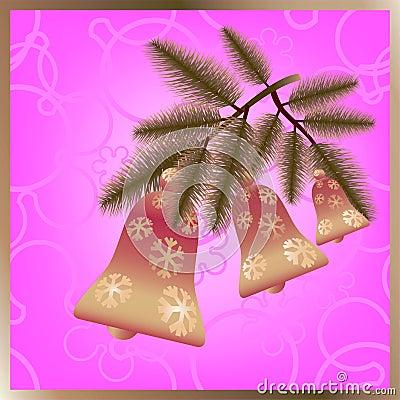 Christmas bells on branch.