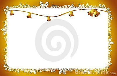 Christmas bells  card gold stars and flowers