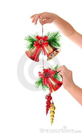 Christmas bells in hand