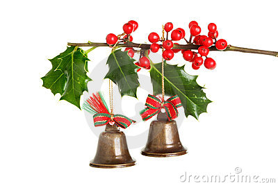Christmas bells and holly