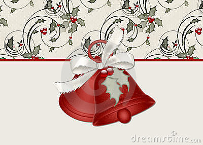 Christmas Bells with Holly on a Cream Background