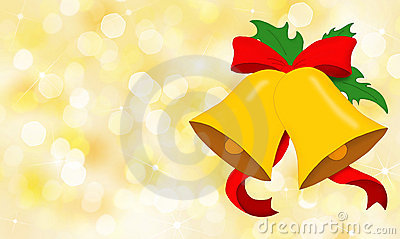 Christmas bells with red bow on golden background
