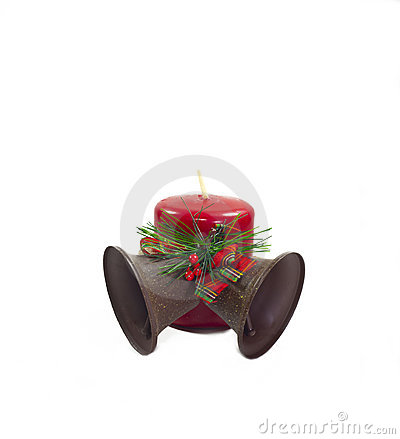Christmas Bells and red candle