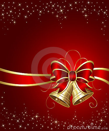 Free Christmas Bells With Red Ribbon Royalty Free Stock Photography - 21368837
