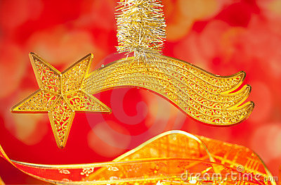 Christmas bethlehem comet gold star on red