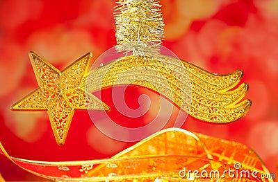 Christmas bethlehem comet gold star on red
