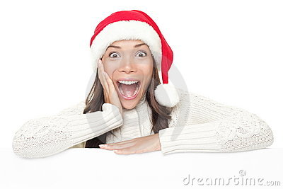 Christmas billboard woman surprised sign