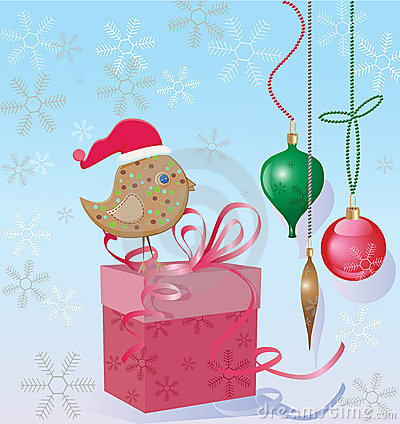 Christmas bird and a gift box