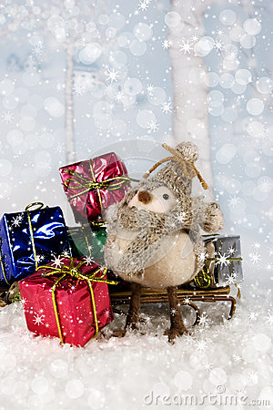 Christmas bird with Gifts