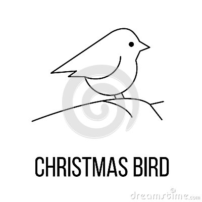 Christmas bird icon or logo line art style. Vector Illustration