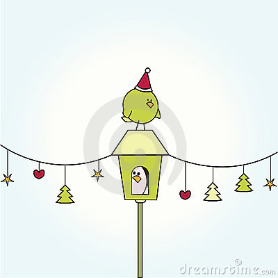 Free Christmas Bird On Bird House Royalty Free Stock Images - 16949679