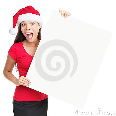 Christmas blank sign woman