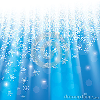 Christmas blue background with snowflakes an stars