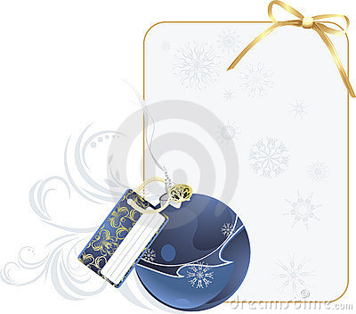 Christmas blue ball with holiday card