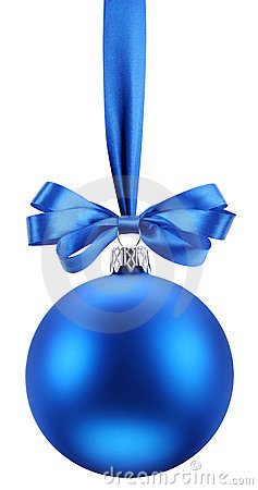 Free Christmas Blue Ball On The Festive Ribbon. Royalty Free Stock Photos - 22209608