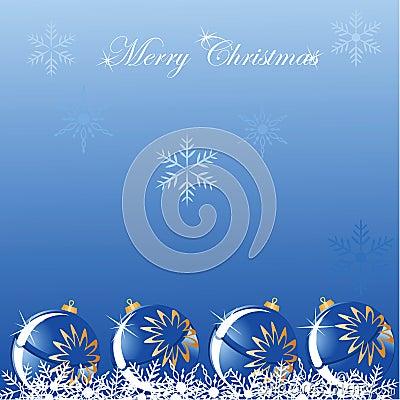 Christmas blue ball shine background