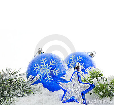 Christmas blue bauble and snow tree
