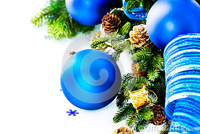 Christmas Blue Baubles And Decoration