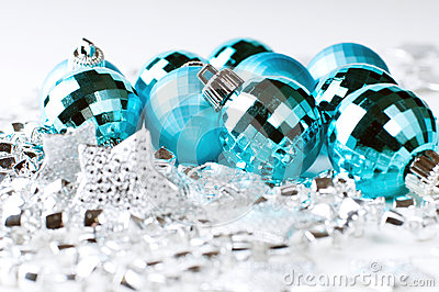 Christmas blue baubles and silver decoration