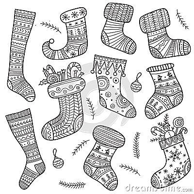 Free Christmas Boho Socks  Set Stock Photography - 81009182