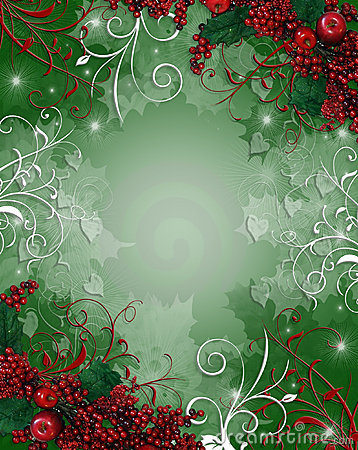 Free Christmas Border Background Holly Berries Stock Photos - 7172713