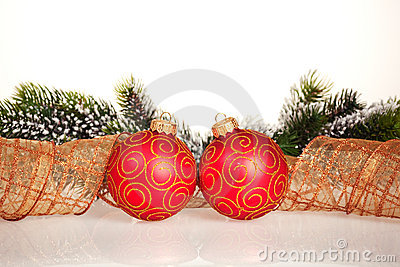Christmas border from branch and balls