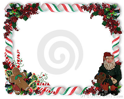 Christmas Border Candy And Elf Royalty Free Stock Photography - Image: 7512307