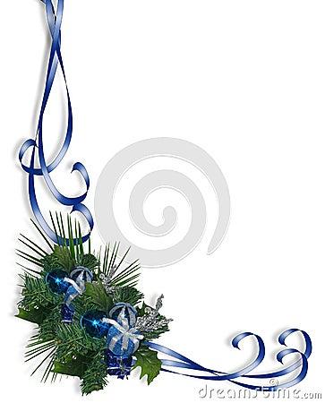 Christmas Border Corner design Blue
