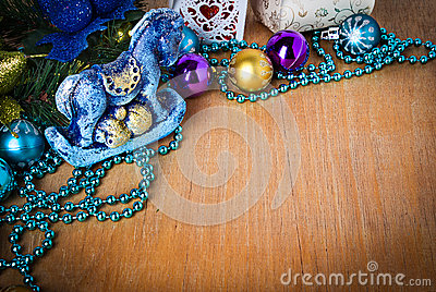 Christmas border with decoration