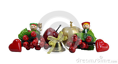 Christmas Border - Dolls, Apple & Berry Isolated