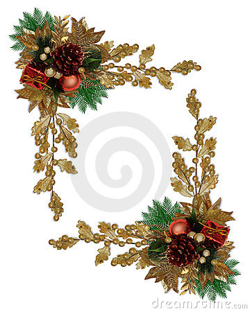 Christmas border elegant pinecone