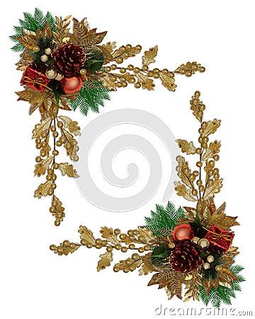Christmas border elegant pinecone