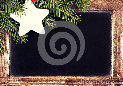 Christmas border with Fir Tree on Vintage Christmas Blackboard f