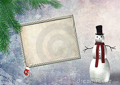 Christmas border frame with a snowman