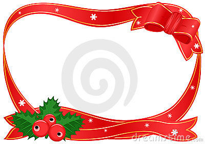 Christmas border with holly