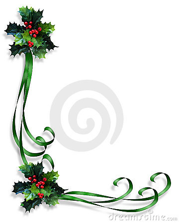 Free Christmas Border Holly And Ribbons Royalty Free Stock Photography - 6060777
