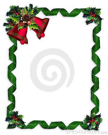Free Christmas Border Holly, Bells, And Ribbons Stock Photography - 12067362