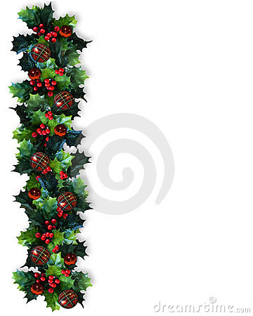 Free Christmas Border Holly Garland Stock Photography - 7184182
