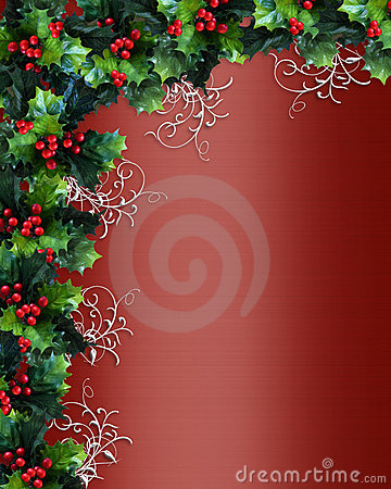 Christmas border holly red satin