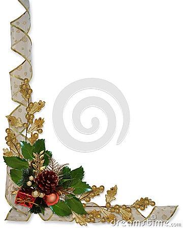 Christmas Border Holly Ribbon Stock Images Image 9548184