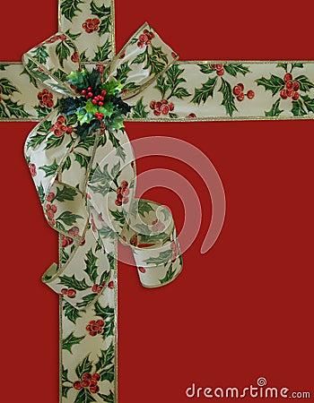Christmas Border Holly ribbon and bow
