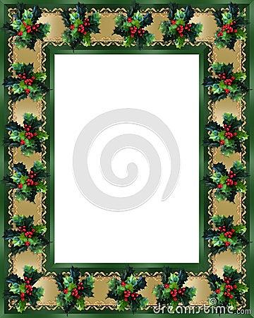 Christmas Border Holly and ribbon photo frame